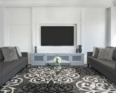 Custom living room with built in TV design