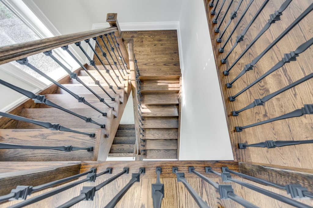 custom home stairway wood