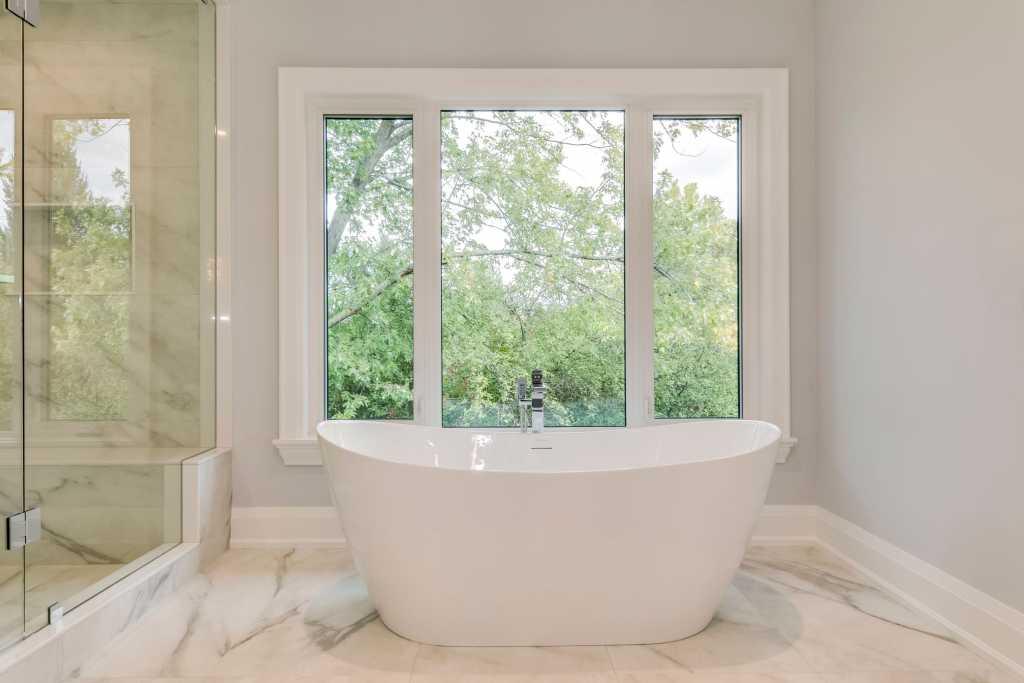 freestanding bathtub in custom master bathroom - renovation contractor toronto