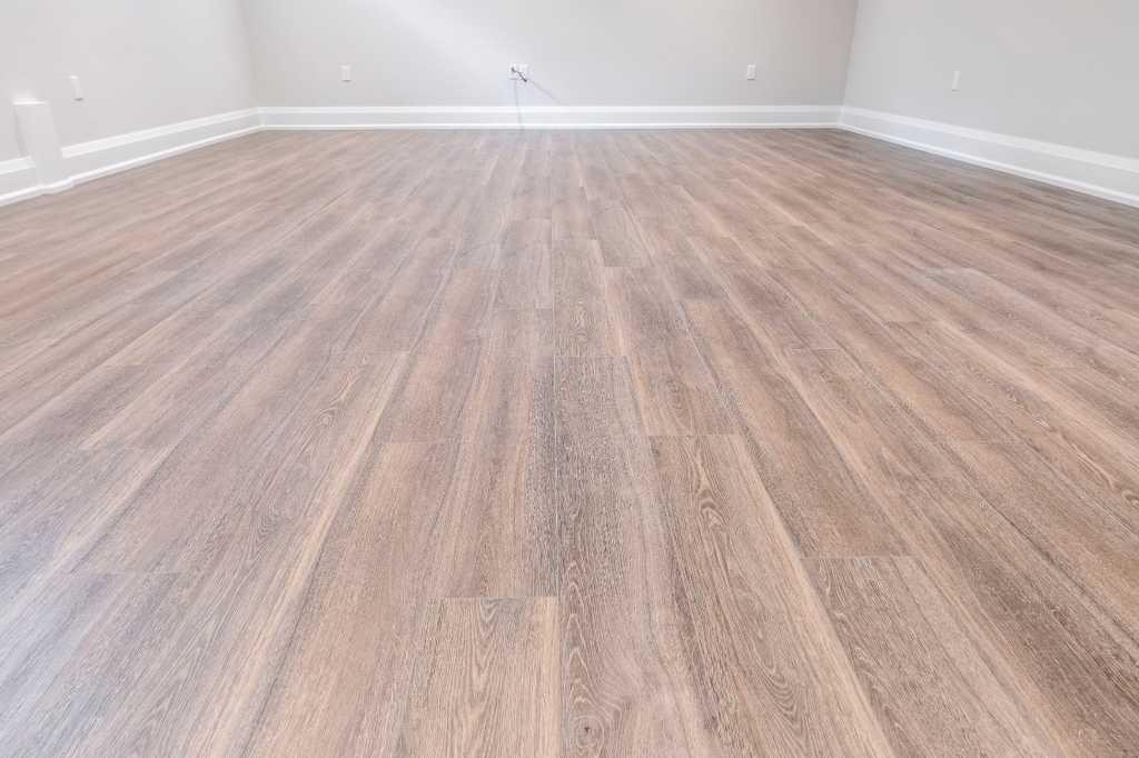 custom wooden floor in the basement
