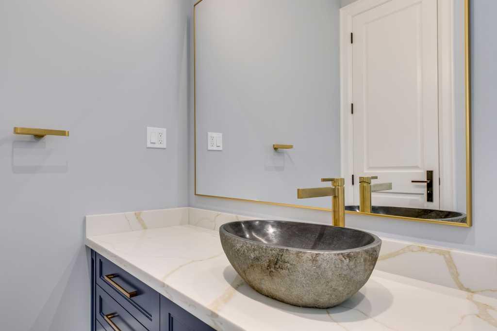 free standing sink on amazing vanity - bathroom remodeling